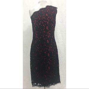 Tadashi Shoji One Shoulder Lace Sheath Dress 10